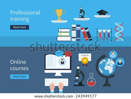Flat stylish design for professional training concept and online courses. Flat vector elements for web applications and banners - stock vector