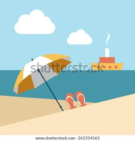 Flat summer beach. Umbrella wit boat. Vector. - stock vector