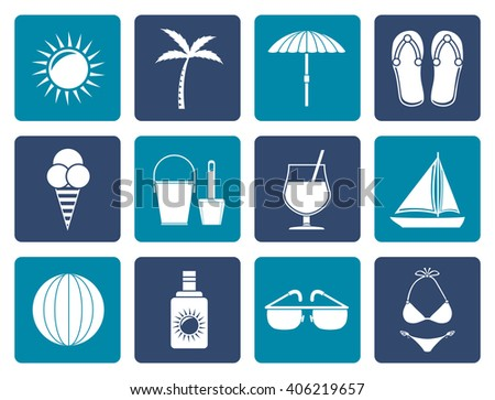 Flat Summer, Holiday and beach objects - Vector Illustration - stock vector