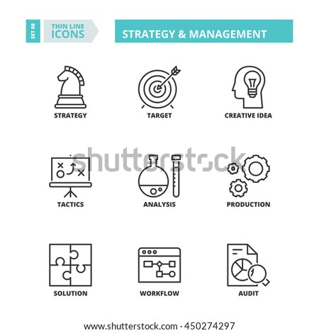 Flat symbols about business. Strategy and management Thin line icons set. - stock vector