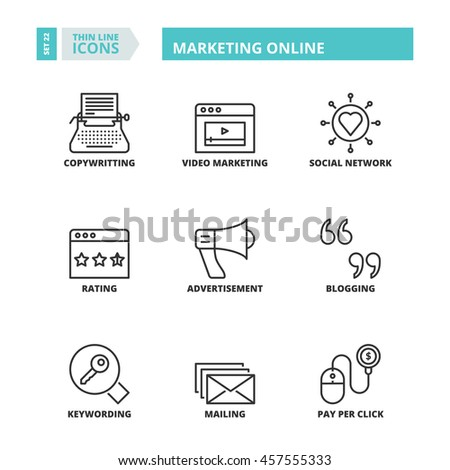 Flat symbols about marketing online. Thin line icons set. - stock vector
