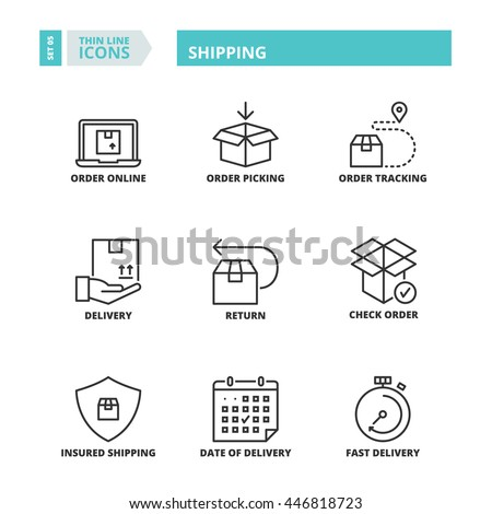 Flat symbols about shipping. Thin line icons set. - stock vector