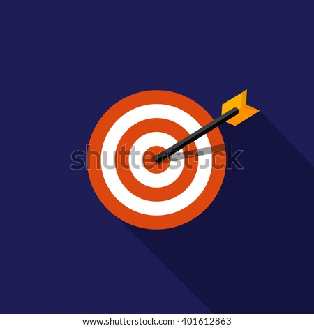 Flat target icon with long shadow. - stock vector