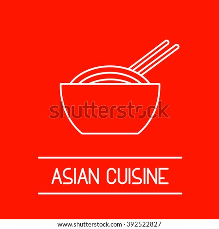 Flat thin line design icon illustration of asian cuisine topic include noodles, pasta in a bowl, eastern food or oriental cuisine, pan-asian food. Perfect for web, print, infographic or presentation. - stock vector