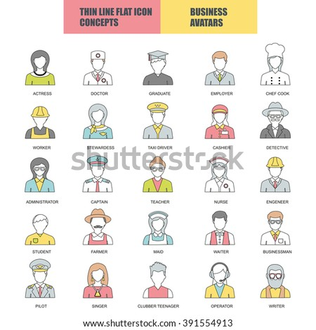 Flat thin line icons collection of people avatars for profile page, social network, social media, different age man and woman characters, professional human occupation, portfolio. Logo concept. - stock vector