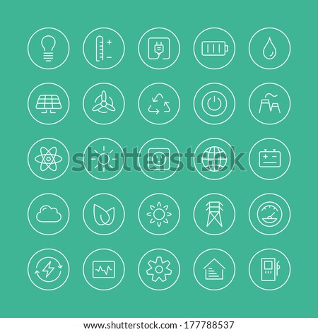 Flat thin line icons modern design style vector set of power and energy symbol, natural renewable energy technologies as solar, wind, water, geothermal heat, bio fuel. Isolated on white background - stock vector