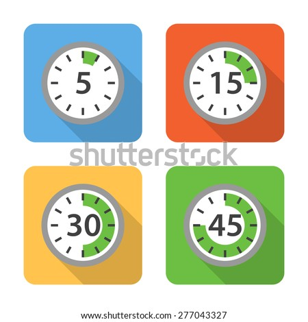 Flat time interval icons with long shadows. Vector illustration - stock vector