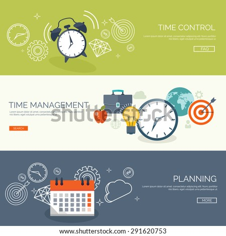 Flat time management background. Date. Planning and time control. - stock vector