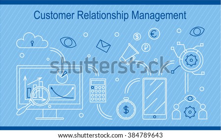 Flat tiny line design illustration of Customer Relationship Management topic and e-CRM. Perfect for web, print, infographic or presentation. Computer with flow-chart, cloud, money, tablet, data, crm - stock vector