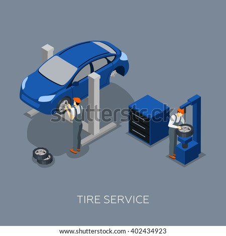Flat tires fixing balance control and repair auto garage service mechanics team isometric banner abstract vector illustration - stock vector