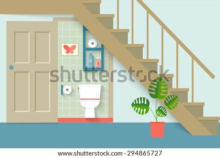 flat toilet room under stair, living room. vector illustration - stock vector