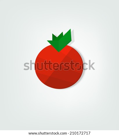 flat tomato icon - stock vector