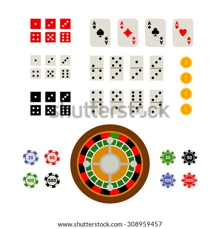 Flat top view set of gambling and casino items - roulette, poker chips, playing cards, dice, domino, coins, isolated on white background - stock vector