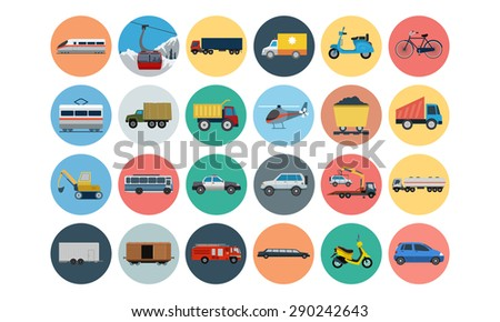 Flat Transport Icons 3 - stock vector