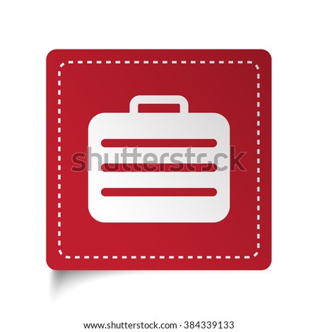Flat Travel Case icon on red sticker - stock vector