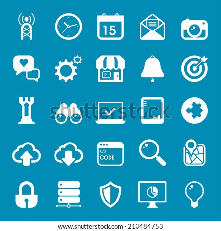Flat travel icons vector collection with of web and business, office and marketing element. Isolated on blue background.  - stock vector