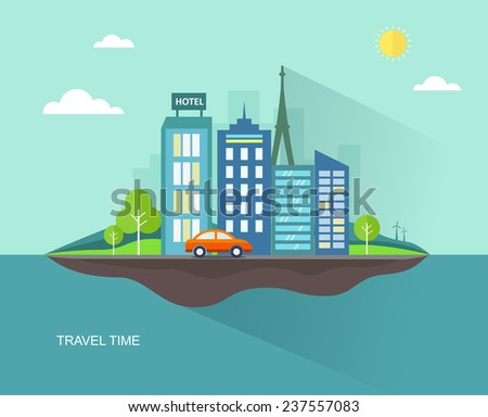 Flat travel illustration with urban landscape.Eps10 - stock vector