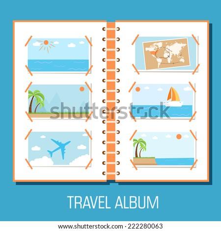 flat travel photo album illustration design concept background. eps10 vector - stock vector