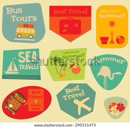 Flat Travel Stickers Set - Vacation Items in Retro Style - Flat Design Style. Layered file. Vector Illustrations.