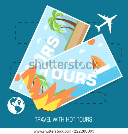 flat travel with hot tours tickets illustration design concept background. eps10 vector - stock vector