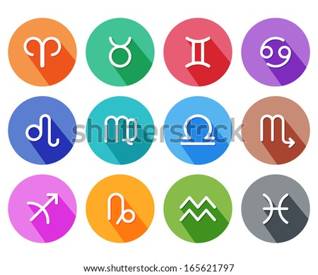 Flat trendy zodiac symbols with shadows. Vector illustration - stock vector