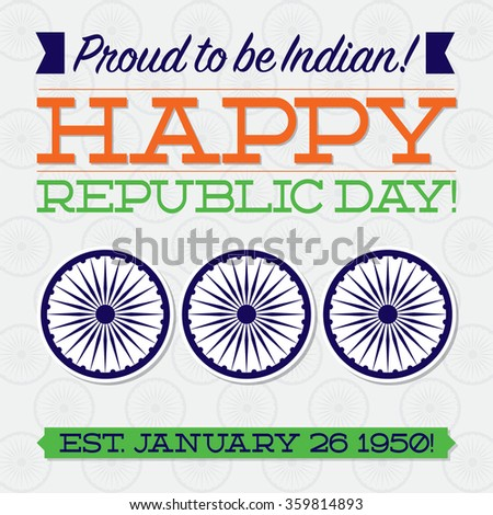 Flat typographic Indian Republic Day card in vector format. - stock vector