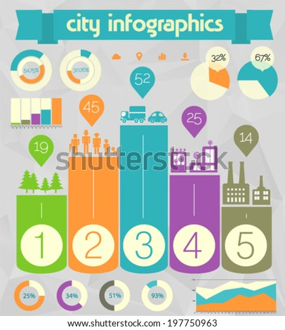 Flat ui design eco city infographic template, 10 EPS - stock vector