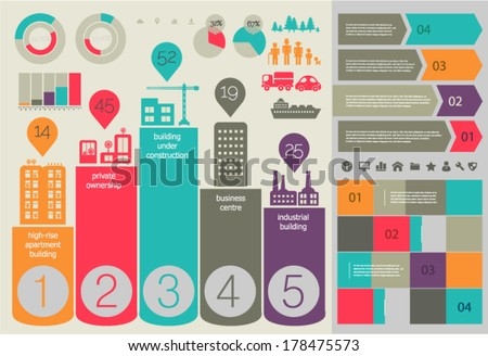 Flat ui design eco city infographic template with steps option banners collection - stock vector
