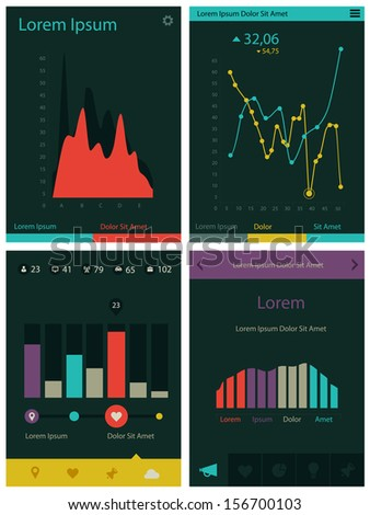 Flat ui design infographic template with diagrams and statistics for mobile applications - stock vector