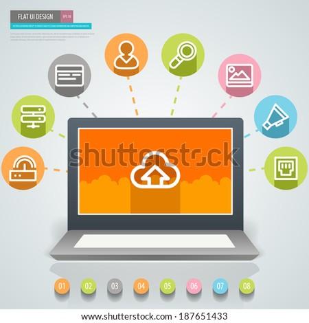 Flat UI Design. Social media concept. Vector eps 10 - stock vector
