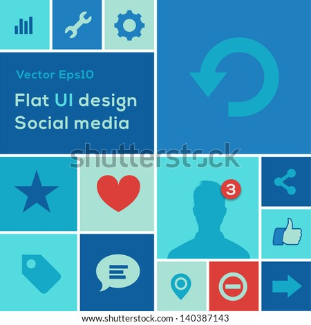 Flat UI design trend social media set icons, vector illustration. - stock vector