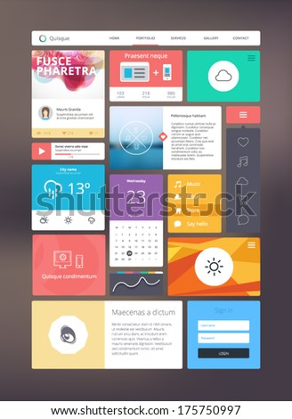 Flat ui kit for responsive web design. Adaptive web elements for 960 grid - stock vector