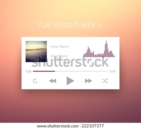 Flat UI media player application / app template for tablet PC or smartphone. Clean and modern style design - stock vector