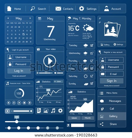 Flat user interface design template page menu and layout vector illustration - stock vector