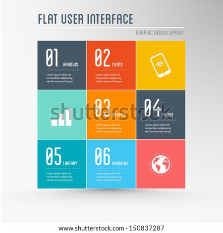 flat user interface - graphic design elements, layout, colorful background - stock vector
