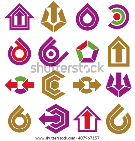 Flat vector abstract shapes, different business icons and design elements collection. Geometric abstract arrows for use as navigation pictograms and app buttons. - stock vector