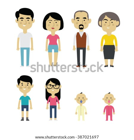 Flat vector asian family members. Parents, grandparents, children and baby. - stock vector