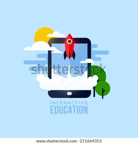 Flat vector concept of interactive education. Creative design elements for websites, mobile apps and printed materials - stock vector