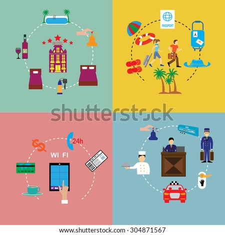 Flat vector design elements of hotel service set-reception, reservation, morning call, cleaning,concierge. - stock vector