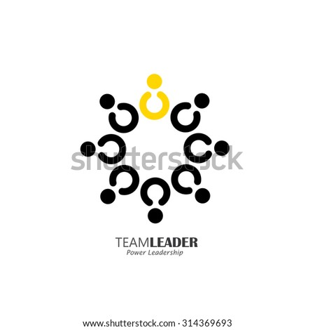 flat vector design of circle of happy motivated people with a leader. this vector also represents leadership, team and teamwork, community, being together - stock vector
