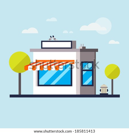 Flat Vector Detailed Shop, Market, Store, Cafe, Barbershop, Grocery Illustration, Icon With stroke, Outline Effect. Isolated On Cityscape Background.  - stock vector