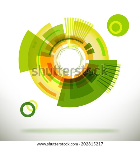 Flat vector eco friendly green technology label. Retro abstract illustration. - stock vector