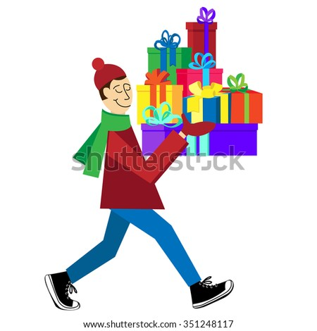 Flat vector Greeting Card illustration isolated on white background with guy buying presents and gift boxes for Christmas holidays or Birthday. Christmas sales shopping.2016 - stock vector