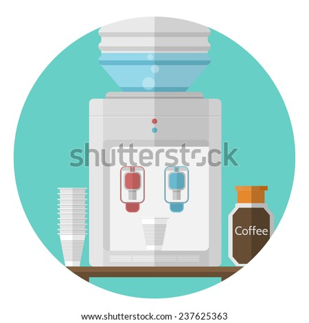 Flat vector icon for office. Water cooler. Gray water cooler, jar with coffee and stack of disposable plastic cups. Flat vector icon on white background - stock vector