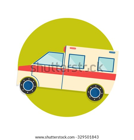flat Vector icon - illustration of ambulance truck icon isolated on white - stock vector