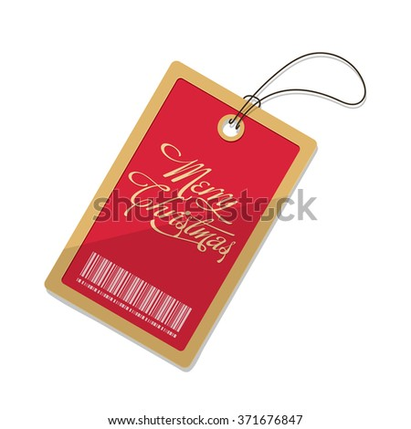 flat Vector icon - illustration of Christmas tag icon isolated on white - stock vector