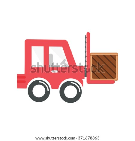 flat Vector icon - illustration of forklift icon isolated on white - stock vector