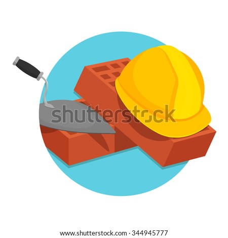 flat Vector icon - illustration of Helmet Bricks and Trowel icon isolated on white - stock vector