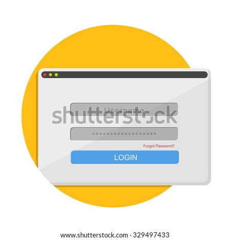 flat Vector icon - illustration of login icon isolated on white - stock vector