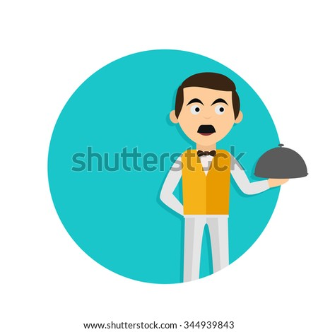 flat Vector icon - illustration of waiter icon isolated on white - stock vector